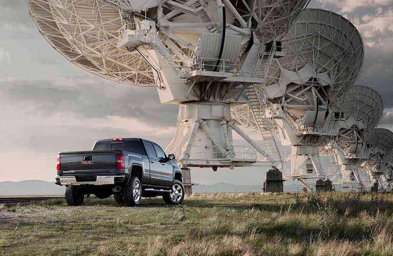 2017 GMC Sierra 2500 parked in front of satellite dishes