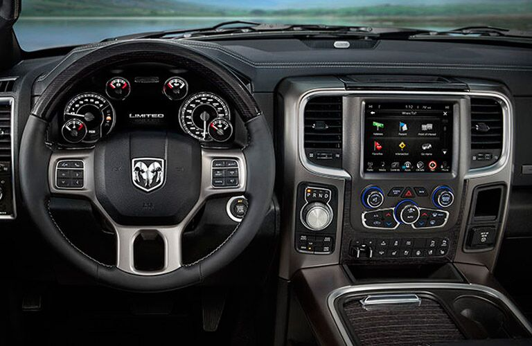 2017 RAM 1500 interior dash and steering wheel