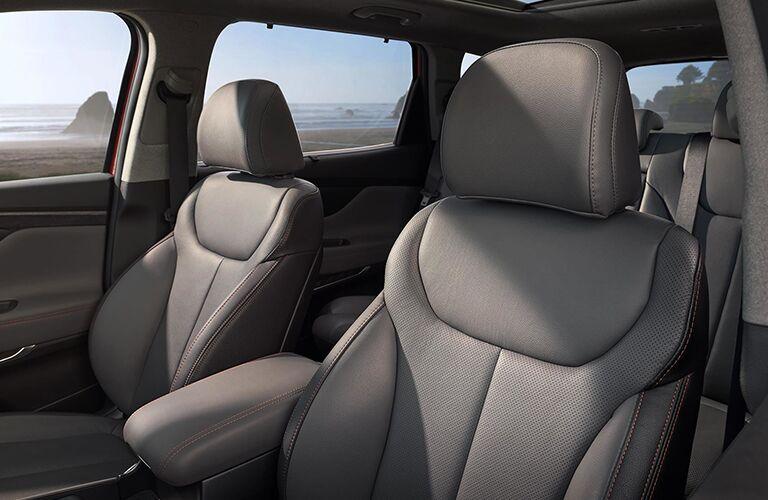 light gray seating inside of Hyundai Santa Fe