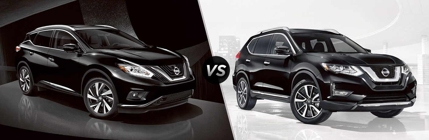 2018 Nissan Murano vs 2018 Nissan Rogue exterior of both crossovers