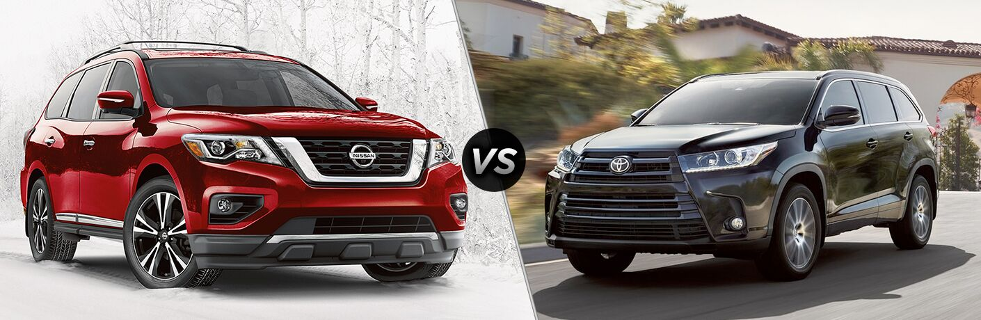 2018 Nissan Pathfinder vs 2018 Toyota Highlander exterior front view of both SUVs