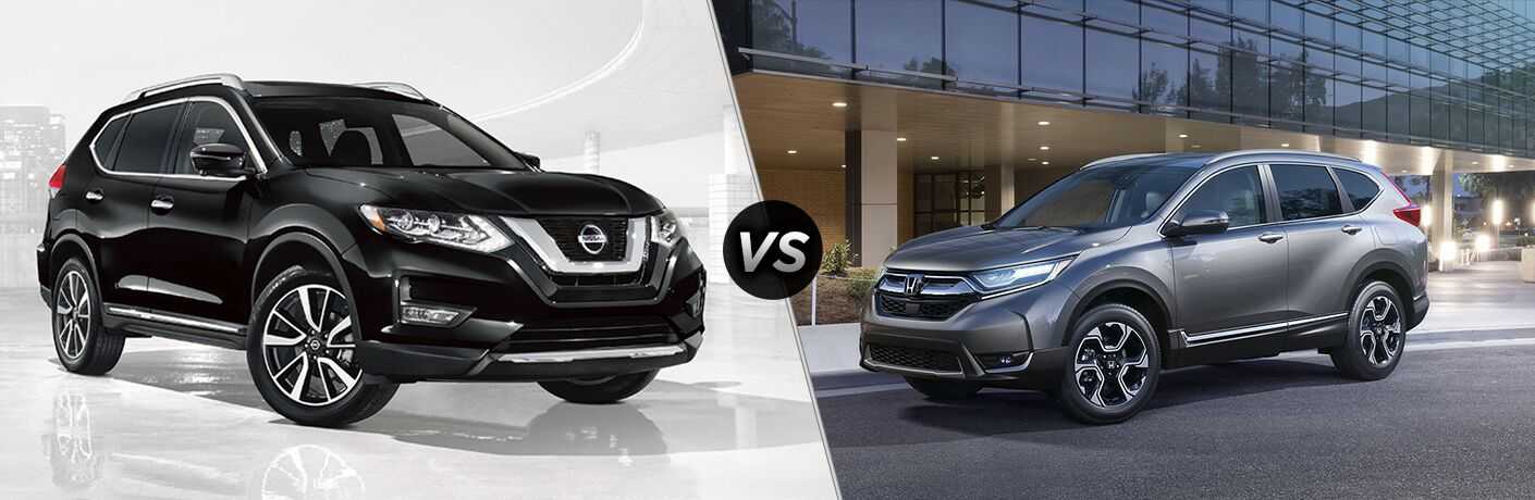 2018 Nissan Rogue and 2018 Honda CR-V with VS sign