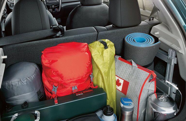 2018 Nissan Micra interior full of camping gear