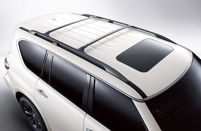 top view of white 2019 nissan armada