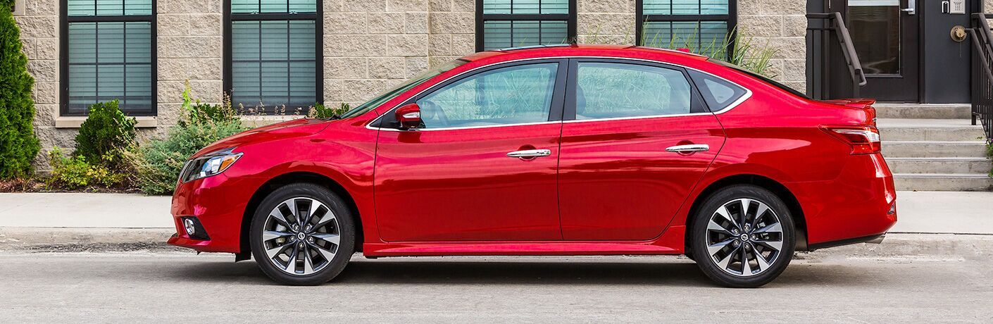 red nissan sentra side view