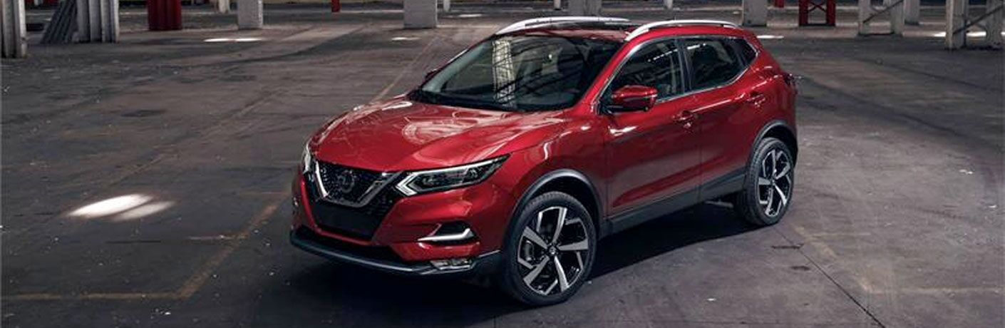 front side view of a red 2020 Nissan Rogue
