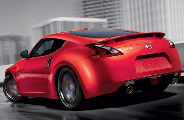 rear view of red 2020 Nissan 370Z Coupe
