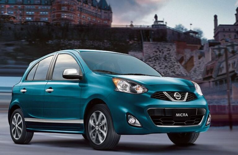 teal 2019 nissan micra in the city
