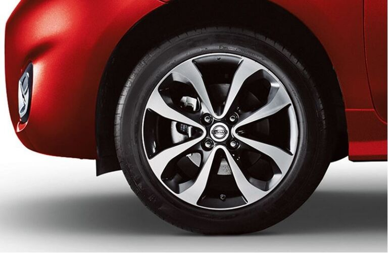 red 2019 nissan micra front wheel