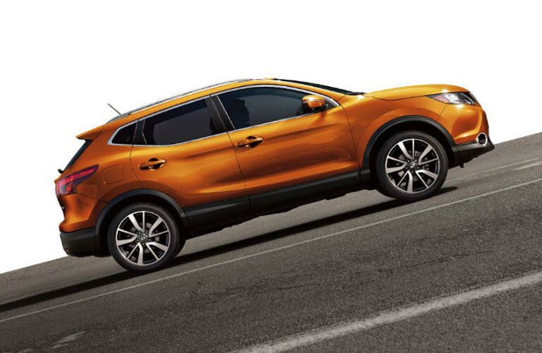 orange 2019 Nissan Qashqai on a slant