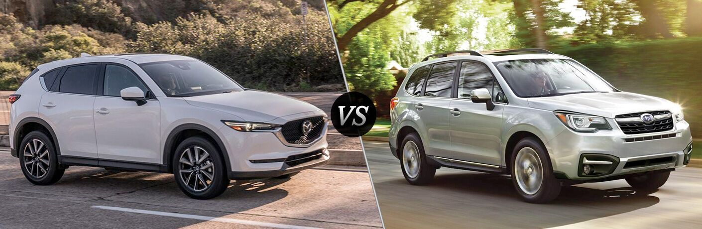 white mazda cx-5 compared to silver subaru forester