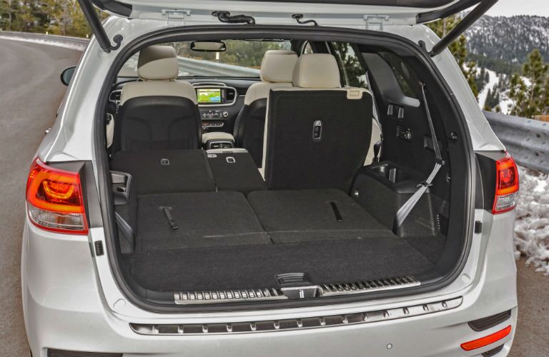 Rear seats folded flat for storage in the 2018 Kia Sorrento
