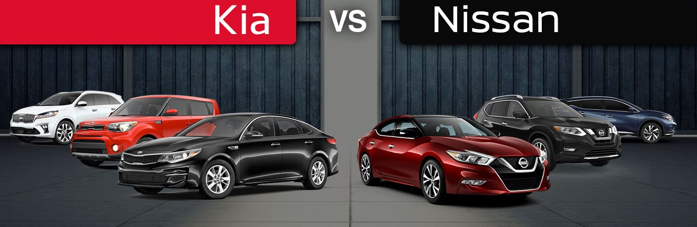 2018 Kia Optima, Soul, and Sorento vs 2018 Nissan Maxima, Rogue and Murano in a warehouse