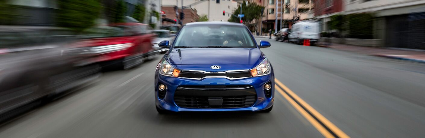 2018 Kia Rio driving towards camera