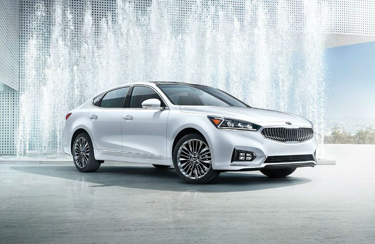 2018 Kia Cadenza in front of a water fountain