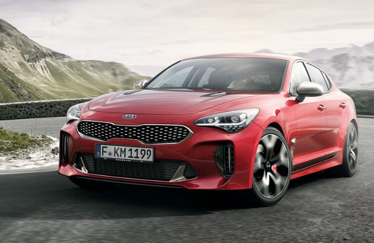 2018 Kia Stinger with mountains in the background
