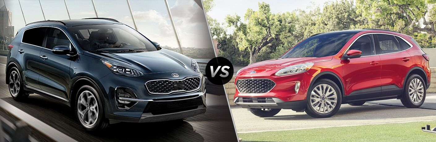 blue kia sportage vs red ford escape