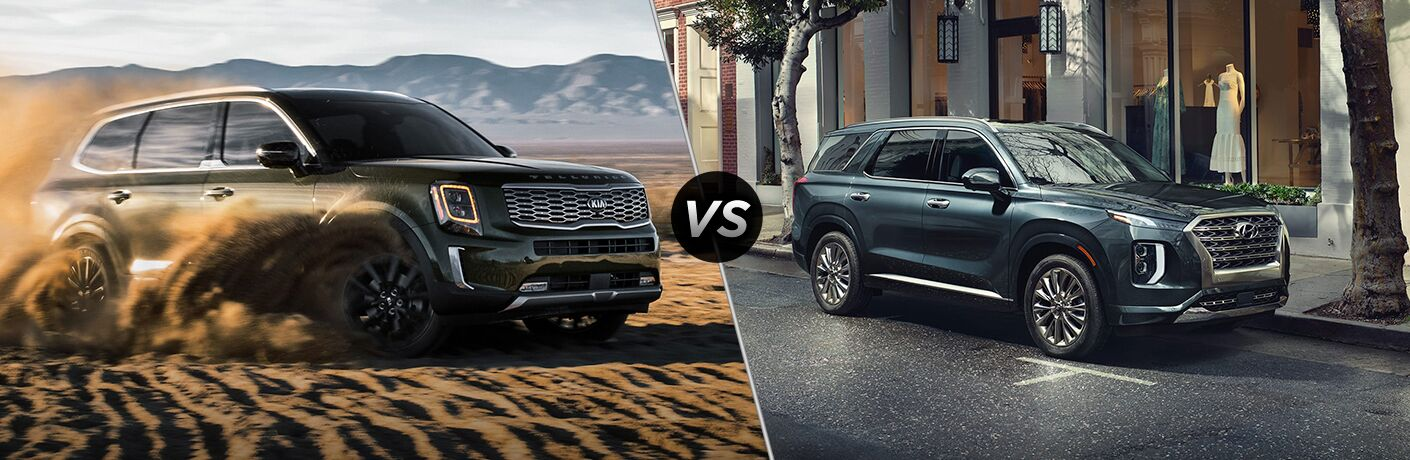 2020 Kia Telluride driving through sand on left and 2020 Hyundai Palisade on right