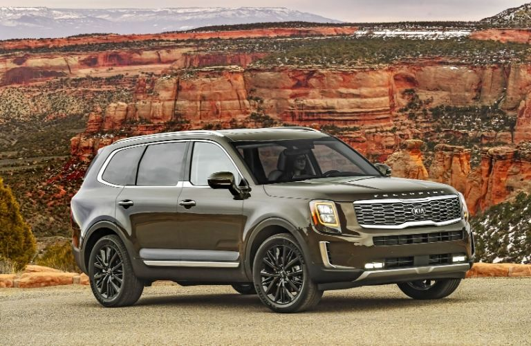 2020 Kia Telluride parked in front of a canyon