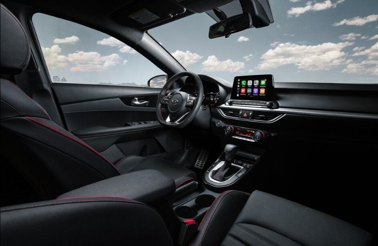 Interior front dash and front seats of 2020 Kia Forte