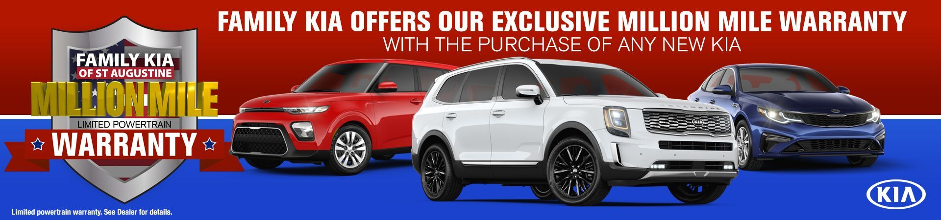 Million Mile Limited Powertrain Warranty promotional image with Kia Telluride