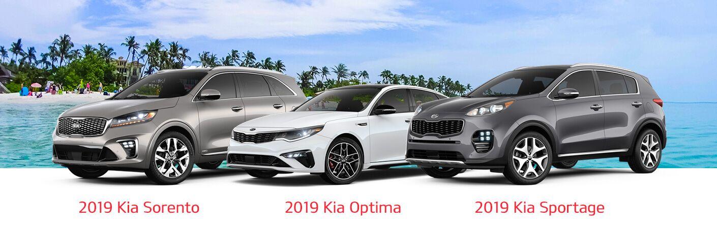2019 Kia Sorento Optima and Sportage models