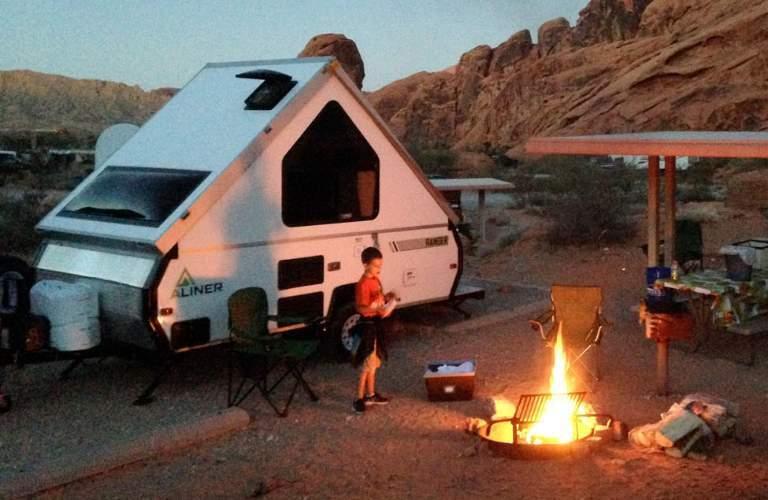 Aliner camper at camp site