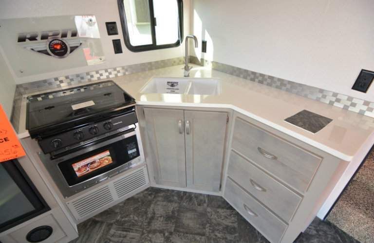 RPM Toy Hauler interior sink and stove