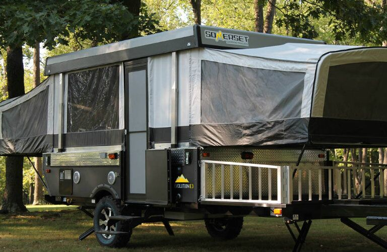 Somerset camping trailer exterior in woods