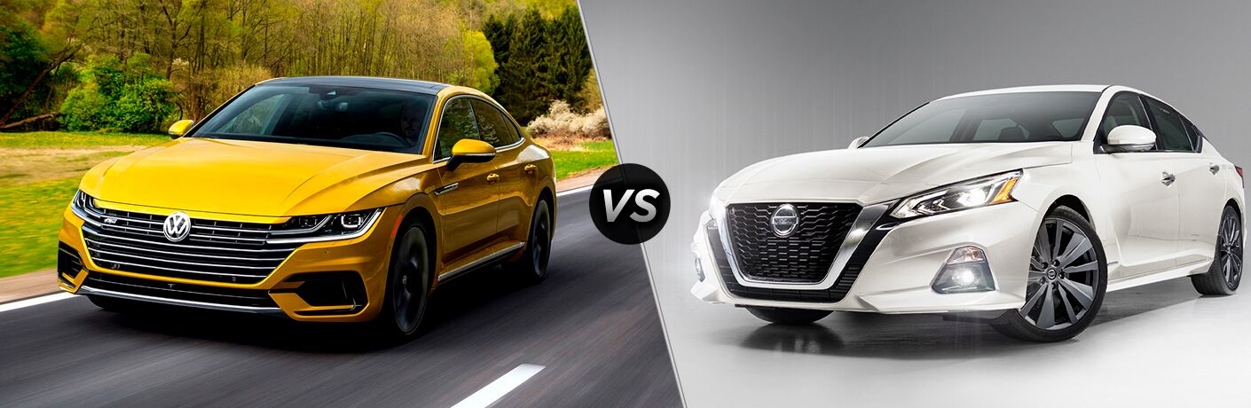 2019 VW Arteon exterior front fascia and drivers side on road with trees vs 2019 Nissan Altima exterior front fascia and drivers side on blank background