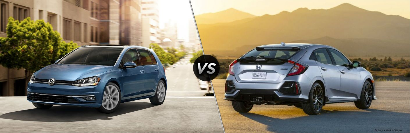 Blue 2019 Volkswagen Golf and silver 2020 Honda Civic Hatchback