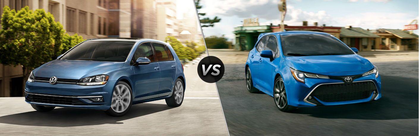 Blue 2019 Volkswagen Golf and blue 2020 Toyota Corolla Hatchback