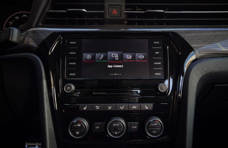 2020 VW Passat interior close up of touchscreen display