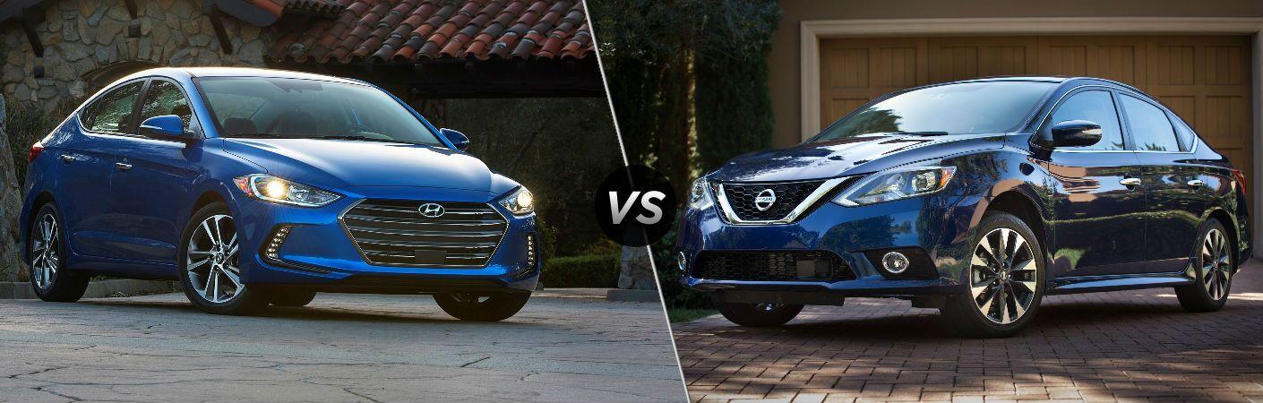 2018 Hyundai Elantra vs 2018 Nissan Sentra exterior front of both cars