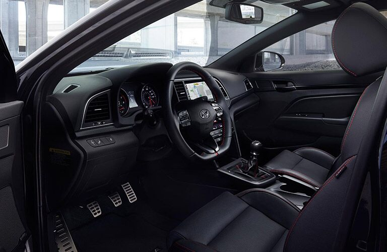 2018 Hyundai Elantra interior front seats and steering wheel