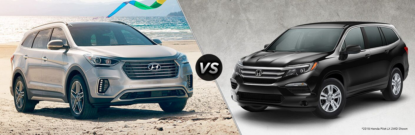 2018 Hyundai Santa Fe XL vs 2018 Honda Pilot exterior of both crossovers