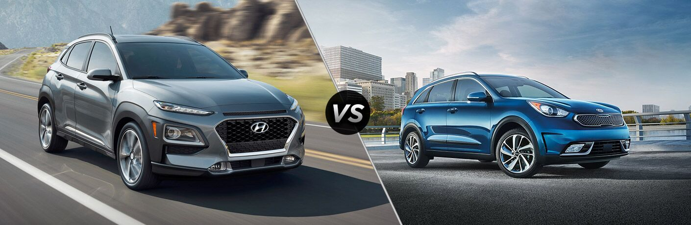 2018 Hyundai Kona vs 2018 Kia Niro exterior of both cars