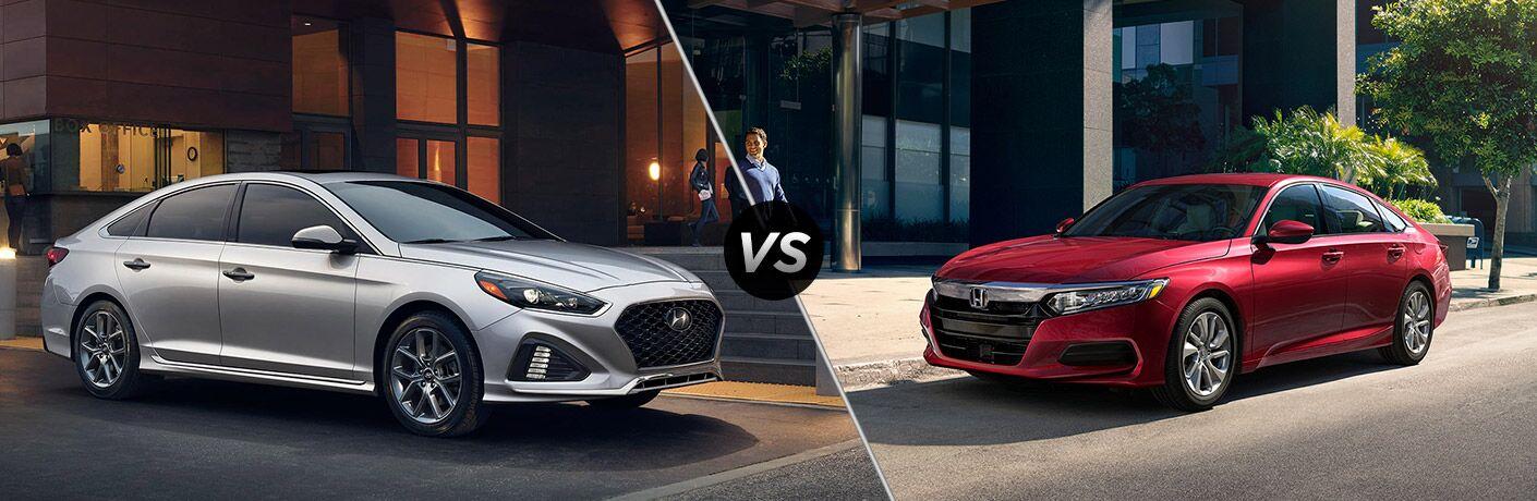 2018 Hyundai Sonata vs 2018 Honda Accord exterior of both cars