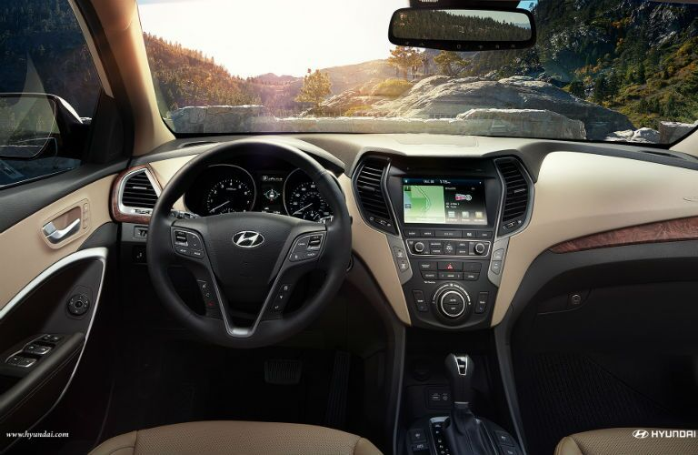 2018 Hyundai Santa Fe Sport interior dash and steering wheel