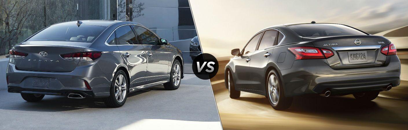 2018 Hyundai Sonata VS 2018 Nissan Altima back exterior view of both cars