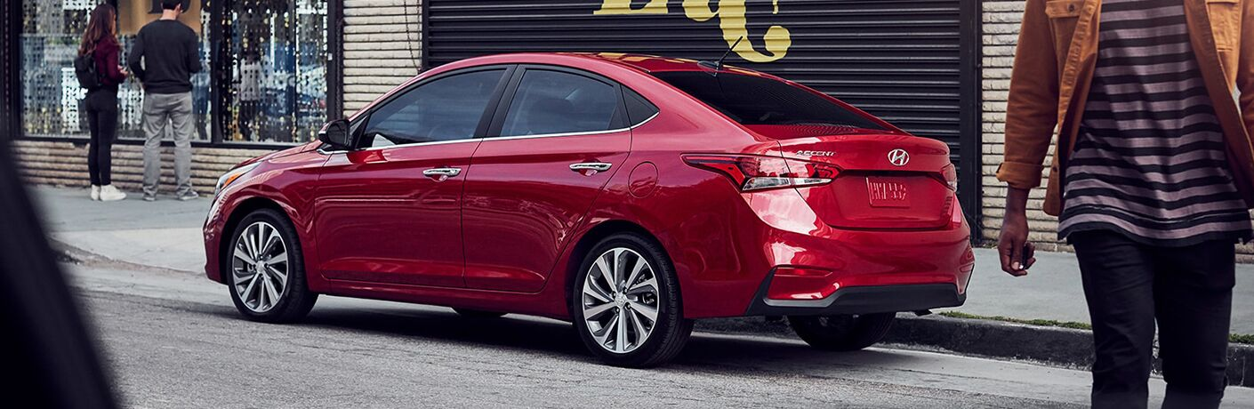 2019 hyundai accent parked in city side view
