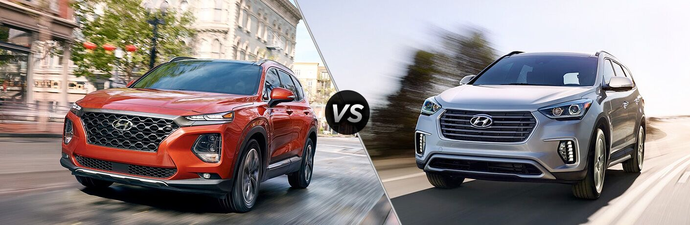 2019 hyundai santa fe and santa fe xl side by side driving