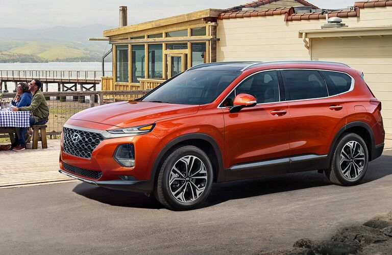 orange 2020 Hyundai Santa Fe side view