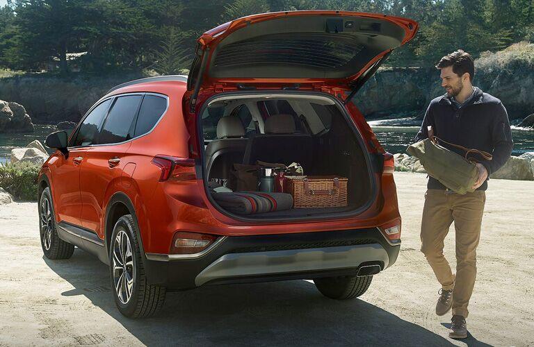 orange 2020 Hyundai Santa Fe rear view