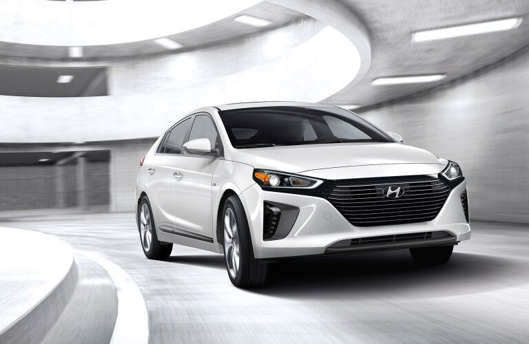 white 2019 Hyundai IONIQ Hybrid in white room