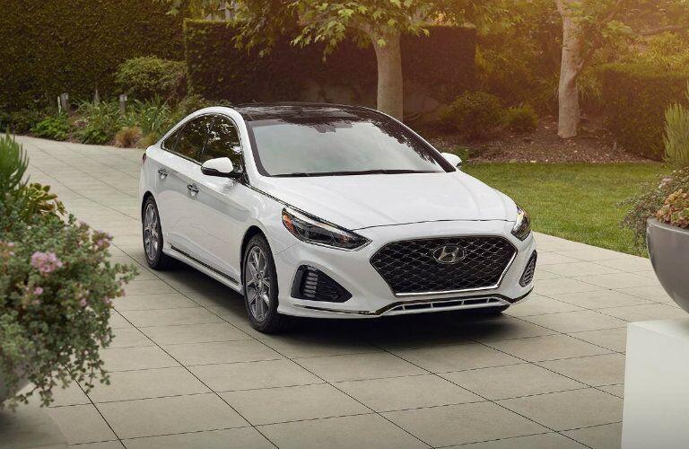 white 2019 hyundai sonata on driveway