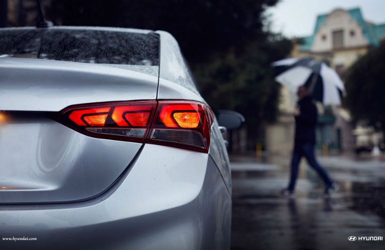 2018 Hyundai Accent back view in the rain