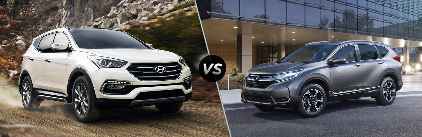 2018 Hyundai Santa Fe Sport vs 2018 Honda CR-V exterior front of both crossovers