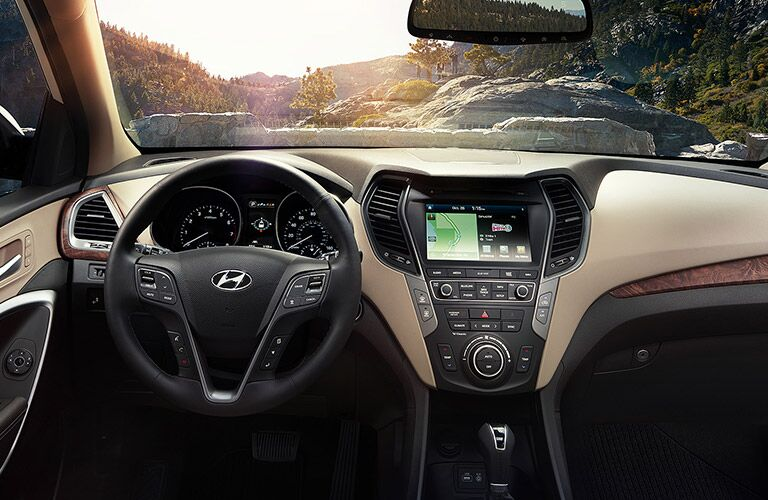 2018 Hyundai Santa Fe XL interior dash and steering wheel