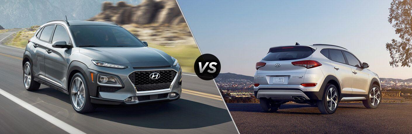 2018 Hyundai Kona vs 2018 Hyundai Tucson exterior view of both cars